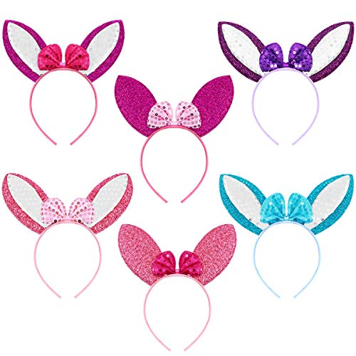 Frcolor Easter Bunny Ears Headband for Kids Adult,Rabbit Ears Costume Headband for Easter Bunny Birthday Party Supplies Favors, 6PCs ()