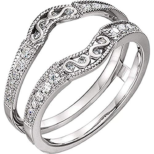 14K White Gold Over 925 Sterling Silver Solitaire Enhancer Simulated Lab Created Diamonds Antique Filigree Ring Guard Wrap