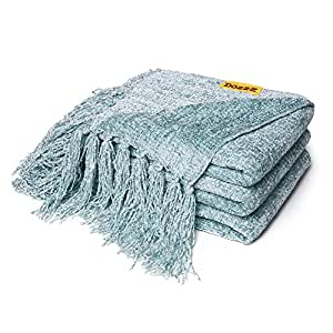 DOZZZ Chenille Couch Throw Blanket with Decorative Fringe for Home décor Gift Sofa Chair Bed Furniture Cover, Aqua