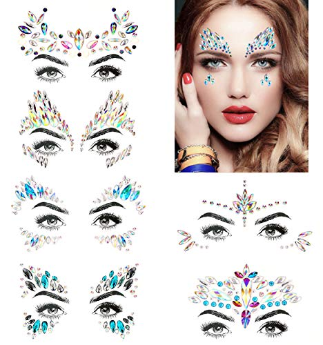 Bling 6 Sets Self-adhesive Mermaid Face Gems Stickers, Rave Festival Face Jewels Crystal Rhinestone Temporary Tattoo Stickers DIY Crafts Gem for Body, Makeup, Festival, Carnival -