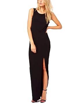Mujer Vestido de Noche Largo Slim Sin Mangas Sin Respaldo Gala Fiesta Playa Maxi Vestidos Negro
