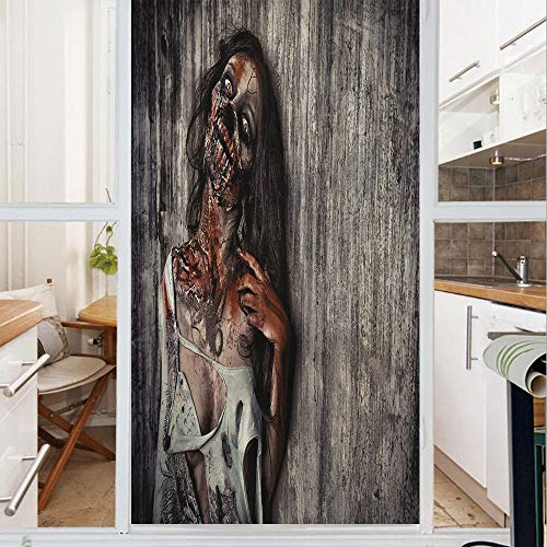 Decorative Window Film,No Glue Frosted Privacy Film,Stained Glass Door Film,Angry Dead Woman Sacrifice Fantasy Mystic Night Halloween Image Decorative,for Home & Office,23.6In. by 59In Dark Taupe Peac ()