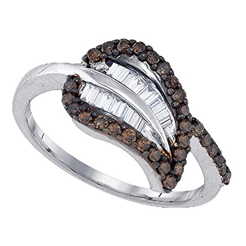 Sterling Silver Womens Round Cognac-brown Color Enhanced Diamond Leaf Petal Cluster Ring 3/8 (0.25 Ct Diamond Leaf)