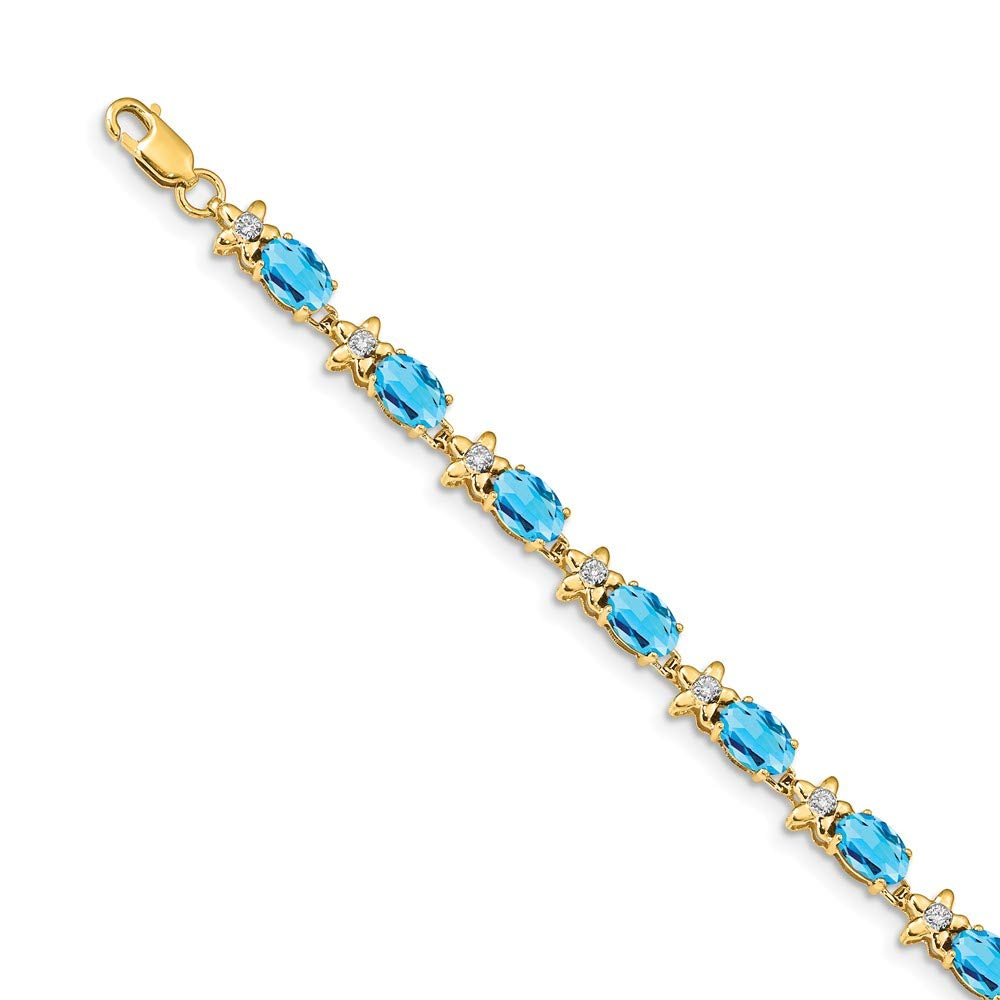 FB Jewels 14k Yellow Gold Floral Diamond Blue Topaz Bracelet