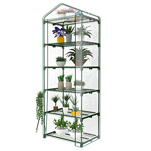 evokem 5-Tier Portable Mini Backyard Greenhouse with Clear Cover and Roll-Up Zipper Door, Garden Plants Shed House for Indoor Outdoor - 27.2 x 19.3 x 73.6inch (US STOCK) by evokem