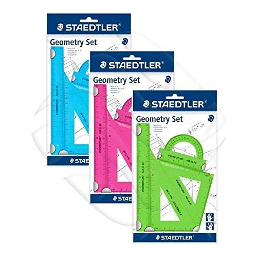 Staedtler 569 PB4NFN Green Pink or Blue Coloured 4 Piece Mars Plastic Geometry Set