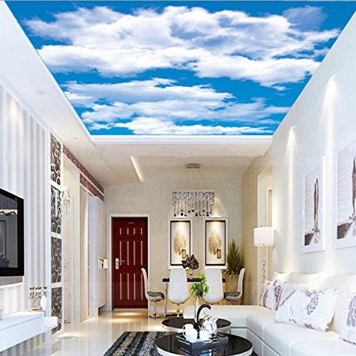 ZLJTYN 240cmX160cm Quality Fabric Mural Paper New Arrivals Wallpapers Luxury 3D Blue Sky White Clouds Wallpaper Sky Blue Wall Papers Living Room by ZLJTYN (Image #4)