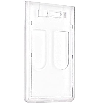 White Vertical Double Sided ID Card  Badge Holder Holds