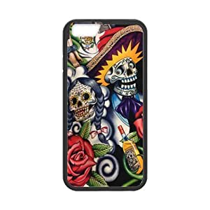 Generic Sugar Skull Day of the Dead Hard-Shell Cell Phone Cover Case for iPhone 6 - Non-Retail Packaging - Multi