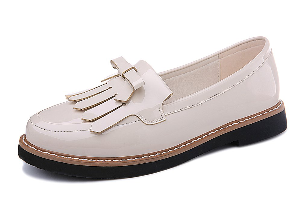 Youxuan Women's Slip On Walk Shoes Ladies Fashion Patent Leather Loafers Flats White 6M US