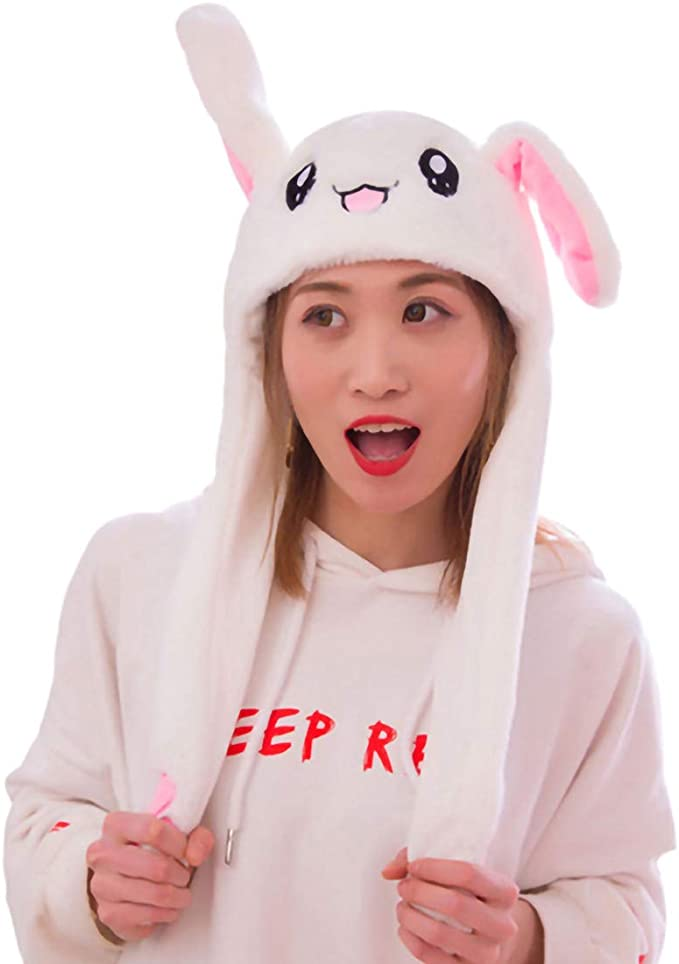 YEKEYI Women Girls Ear Moving Jumping Hat Animal Hat Pop Up Ears Plush Hat Cap Headband for Halloween