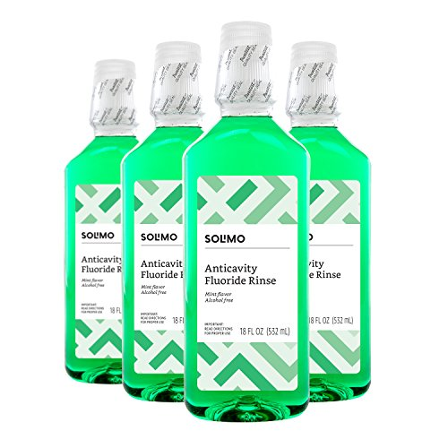 Amazon Brand - Solimo Anticavity Fluoride Rinse, Alcohol Free, Mint, 18 Fluid Ounce (Pack of 4) (Peppermint Mouthwash)