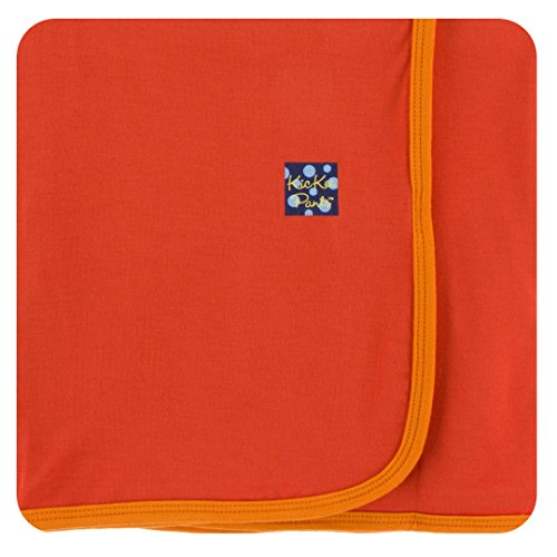 (KicKee Pants Little Boys Solid Swaddling Blanket - Poppy with Sunset, One)