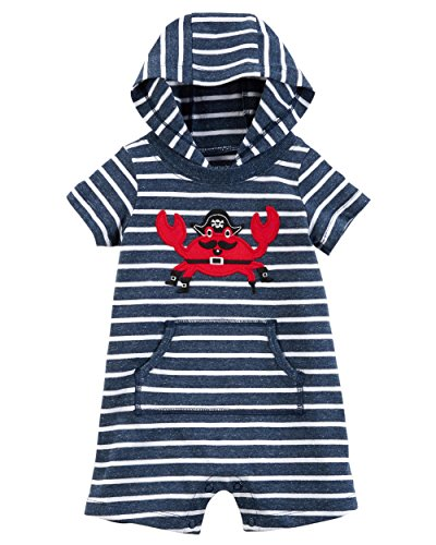 Carter's Baby Boys' Hooded French Terry Romper (6 Months, Navy/Crab)