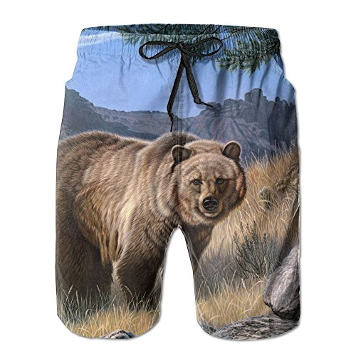 Usieis Watercolor Bears Surfing Pocket Elastic Waist Men's Beach Pants Shorts Beach Shorts Swim Trunks]()