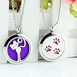 Lademayh Cute Cat & Paws Design Aromatherapy Essential Oil Diffuser Necklace for Kids(2 Lockets, 2 Styles Chains, 12 Felt Pads)