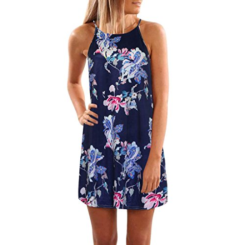 Women's Summer Haler Floral Sleeveless Print Beach Dress Mini Short Dress (M, Dark Blue) from Goodtrade8