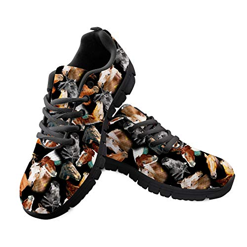 (Bigcardesigns Black Running Sneakers Horse Print Trendy Shoes Outdoor Walking Hiking Pumps Size 8 B(M) Women-EUR 38)