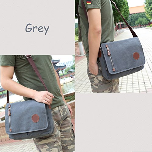 Women Casual Bag Working Book Bags Coffee VRIKOO and Satchel Gris for Messenger Men Crossbody Canvas Shoulder fqxwdR