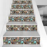 kirby bowl - Stair Stickers Wall Stickers,6 PCS Self-adhesive,Dog Lover,Paw Print Background with Pet Canine Accessories Balls Carry Bags Leash Food Bowl,Multicolor,Stair Riser Decal for Living Room, Hall, Kids Ro
