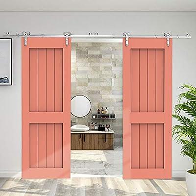 243cm/8FT kit de puerta corredera de acero inoxidable,Herrajes para puertas corredizas de acero inoxidable para puertas de vidrio/madera: Amazon.es: Bricolaje y herramientas