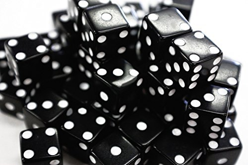 Ifavor123 Bulk Pack of 100 Dice - Standard Size 16MM (Black Dice) (Black & White Dice)