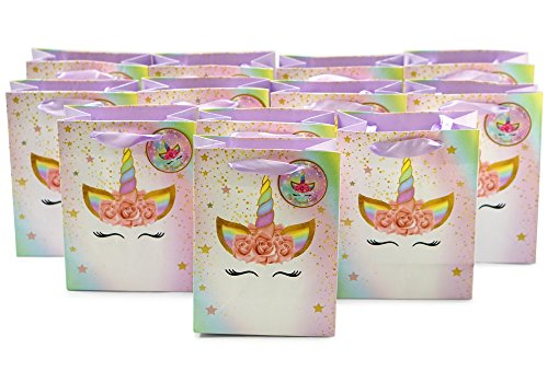 Unicorn Party Bags (12pcs) Super Cute | Ribbon Handles & Thank You Tags Incl. | Perfect for Kids Rainbow Unicorn Birthday Party Theme - Fill bags with Treats, Toys, Games or Supplies. - 5.8a Top Handle