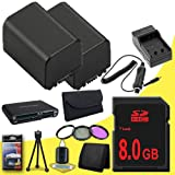 TWO BP-819 Lithium Ion Replacement Battery w/External Rapid Charger + 8GB SDHC Class 10 Memory Card + 37mm 3 Piece Filter Kit + Memory Card Reader + Memory Card Wallet + Deluxe Starter Kit for Canon Vixia HFM30 HFM31 HFM300 HF10 HF100 HF11 HF20 HF200 HG20