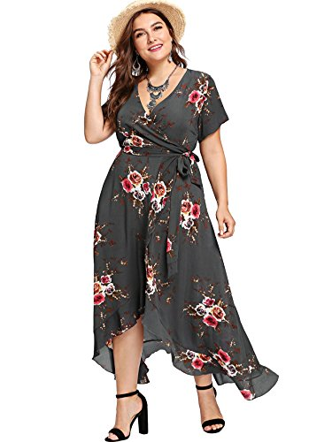 Milumia Plus Size Short Sleeves Wrap V Neck Belted Empire Waist Asymmetrical High Low Bohemian Party Maxi Dress Gray 2XL