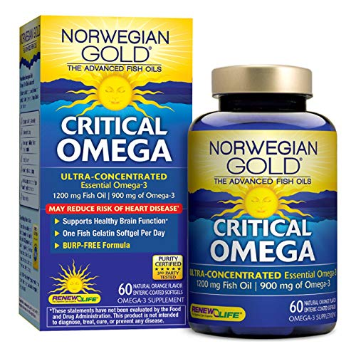 Norwegian Gold - Critical Omega - Omega 3 oil supplement - 60 softgel capsules - Renew Life brand (Packaging May Vary) ()