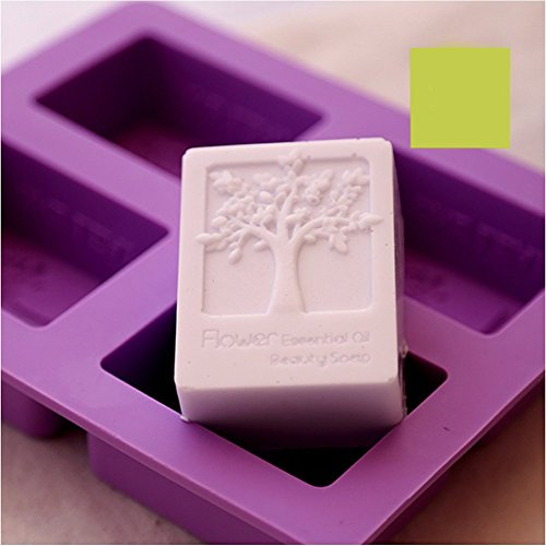 6MILES 2017 Newest Design Purple 4 Cavity Flower Tree DIY Silicone Soap Mold Cupcake Baking Mold Muffin Pan Handmade Art Craft Soap Making Molds Kitch…