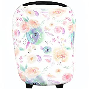 """Baby Car Seat Cover Canopy and Nursing Cover Multi-Use Stretchy 5 in 1 Gift """"Bloom"""" by Copper Pearl"""