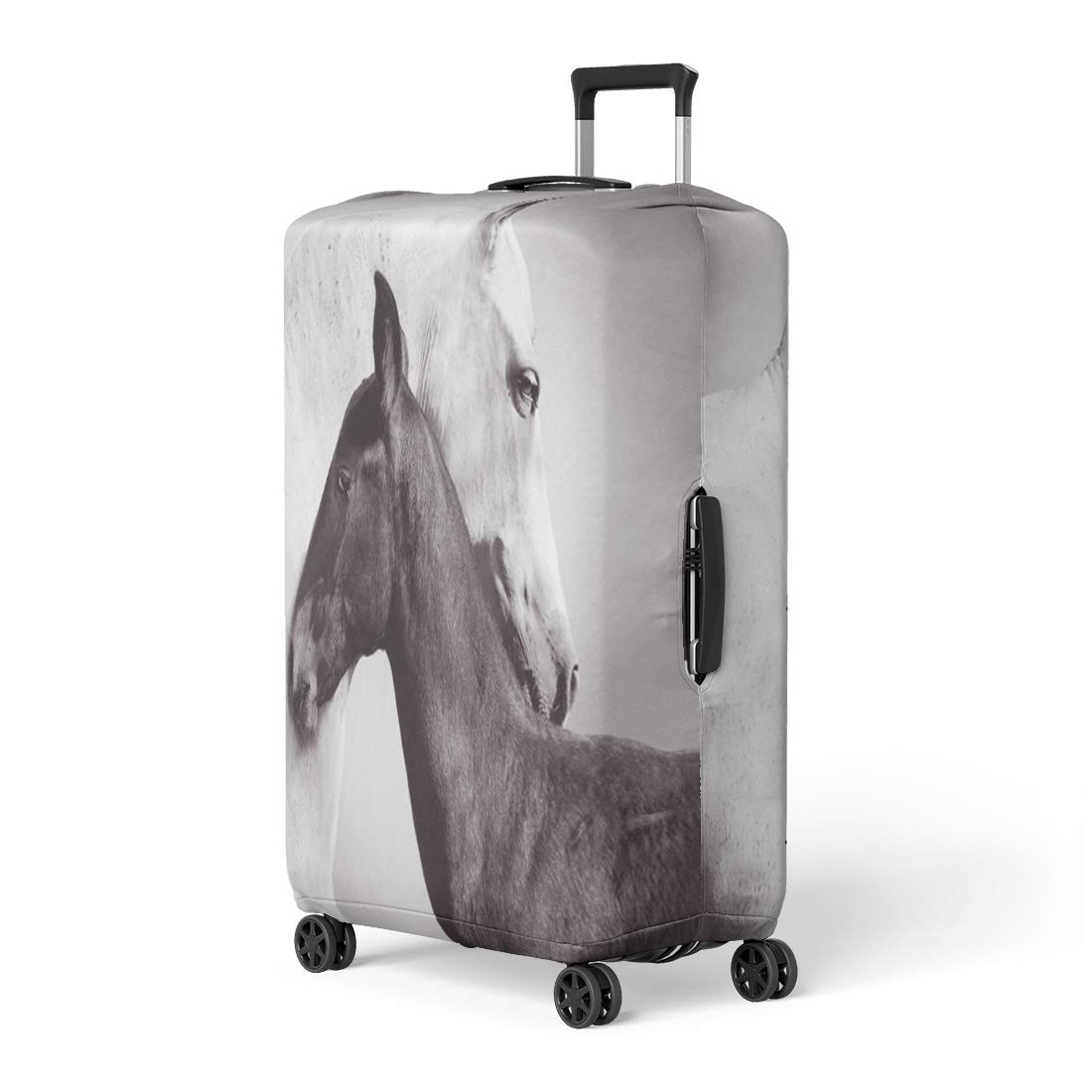 Semtomn Luggage Cover White Andalusia Mare Is Closely Entwined Next to Her Travel Suitcase Cover Protector Baggage Case Fits 18-22 Inch