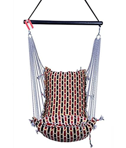 Kkriya Maarketing Teak Chair Hanging Cotton Single Patio Rope Swing Seat (Red and Silver)