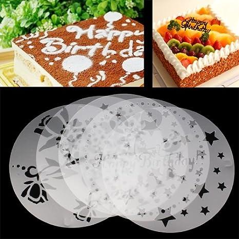Haifischtech Lot De 5 Pochoirs à Gâteau Set De Pochoirs à Gâteau