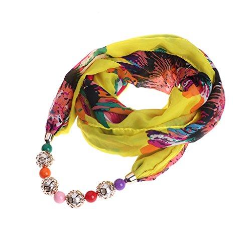 declaración Mujer étnica Chiffon de Beads joyería Wraps Colorido Colgante Dabixx Un de Bufanda Collar BxEq4w4PFU