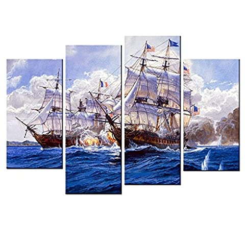 CHARM HOME Contemporary Art Wall Decor Paintings Ship Naval Battle Canvas Poster Descorative Pictures Modern HD Printed Giclee - Rectangle Picture Frame Charms