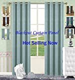 Curtains for Bedroom Blue Curtain Panel 84 Inches Sideli Thermal Insulated Blackout Electric Carving Solid Color Grommet Top Curtains Draperies One Panel 52″Wx84″H, Blue For Sale