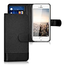kwmobile Wallet case canvas cover for Apple iPhone SE / 5 / 5S - Flip case with card slot and stand in anthracite black