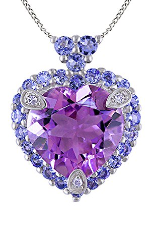 Simulated Tanzanite, Amethyst & White Natural Diamond Love Heart Pendant In 10k White Gold
