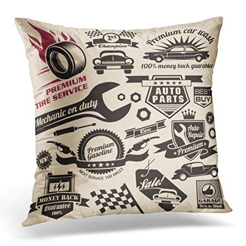 Emvency Throw Pillow Covers Case Race Vintage Collection of Car Related Signs and Symbols with Various Design Ribbons and Emblems Mechanic Decorative Pillowcase Cushion Cover for Sofa 18 x 18 Inches