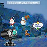 Ocean Wave Halloween Christmas Projector Lights 2-in-1 Moving Patterns with Ocean Wave LED Landscape Lights Waterproof Outdoor Indoor Xmas Theme Party Yard Garden Decorations, 12 Slides 10 Colors