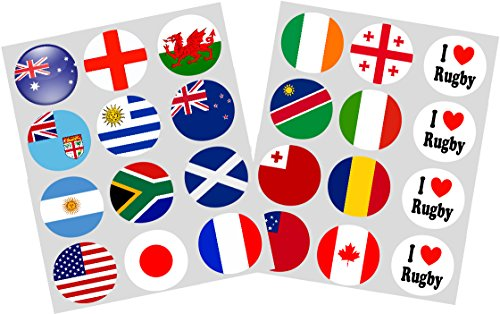 Rugby World Cup 2015 Flags Set of 24 Ricepaper Cupcake Toppers 40mm Pre-cut Decoration