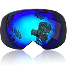 IceHacker Lagopus X3 Snowmobile Snowboard Skate Ski Goggles with Wide Angle Panoramic Double Lens 100% UV Protection Anti-fog Unique Magnet Lens Change Design