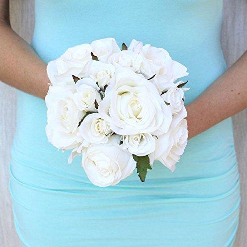 White Roses Bridal Hand Tied Bouquet Silk Wedding Flowers Bridesmaid Bride