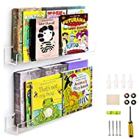 WINKINE 2 Pack Heavy Duty Clear Floating Bookshelf Set, Acrylic Bathroom Shelves, Shower Caddy, Nail Polish Women Makeup Organizer, Spice Rack Kids Room Wall Decor Display Bookshelf