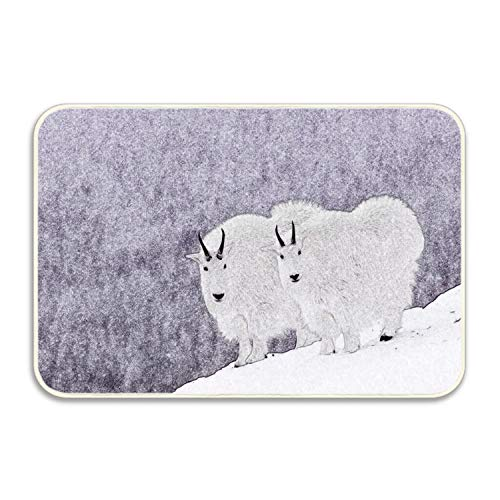 WYIOU Indoor Doormat Snow Goat Rustic Entrance Welcome Mat 16X24 duty Low ProfileFront Door Mat Home Decor by WYIOU