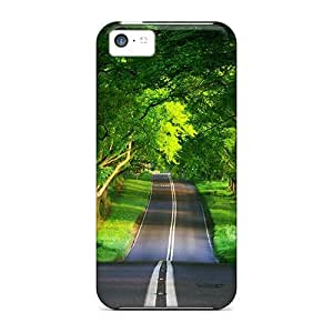 Hard Plastic Iphone 5c Case Back Cover,hot Green Road Case At Perfect Diy