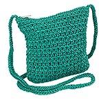 Boho Crochet Crossbody Handbag, Organizer Sling Bag, Small Crocheted Hippie Purse (Teal)