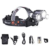 LIGHTESS Led Head Lamps 6000 Lumens Super Bright Headlamp Rechargeable Headlight Waterproof Torch Flashlight Bicycle Front Light